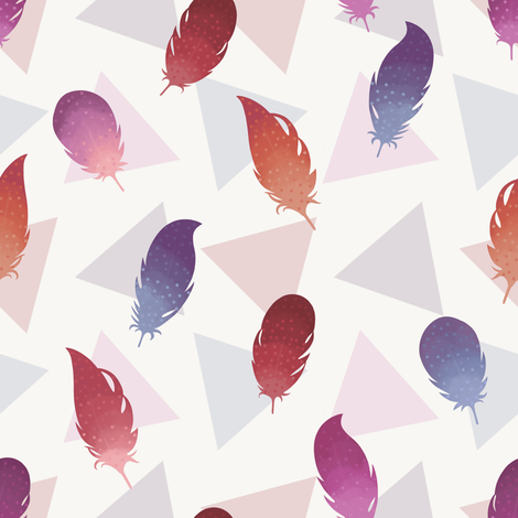 Bohemian feathers fabric by elena_naylor on Spoonflower - custom fabric