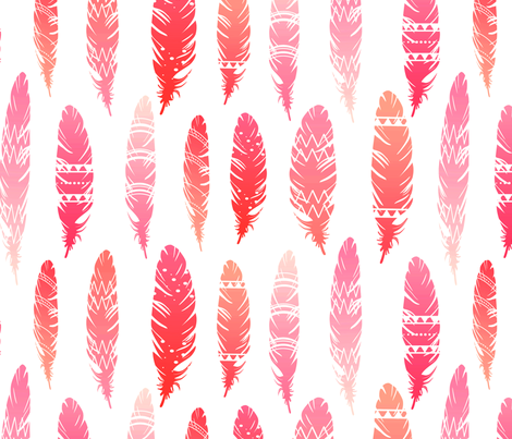 tribal feathers fabric by annaboo on Spoonflower - custom fabric