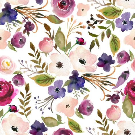 Peach Pink and Purple Wildflowers fabric by hipkiddesigns on Spoonflower - custom fabric