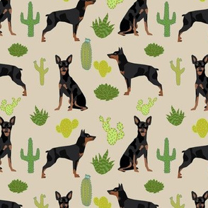 Miniature Doberman Pinscher cactus southwest desert fabric dog breed tan