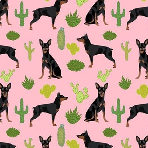 Miniature Doberman Pinscher cactus southwest desert fabric dog breed pink