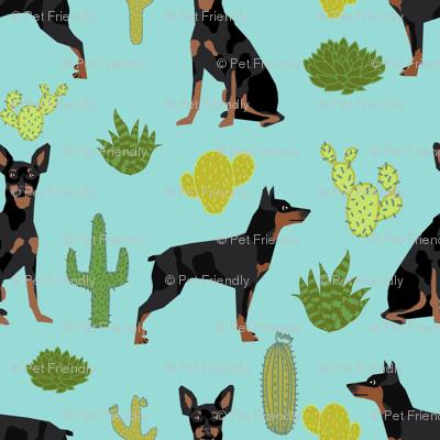 Miniature Doberman Pinscher cactus southwest desert fabric dog breed blue green