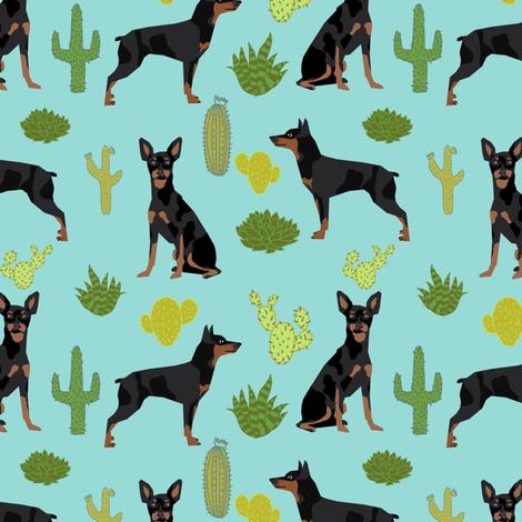 Miniature Doberman Pinscher cactus southwest desert fabric dog breed blue green fabric by petfriendly on Spoonflower - custom fabric