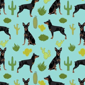 Miniature Doberman Pinscher cactus southwest desert fabric dog breed blue green