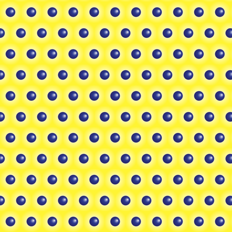 3D Blue Polka Dots on Yellow Background fabric by fabrique_dubois on Spoonflower - custom fabric