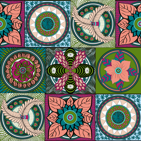 Bohemian_RIPPLES_OF_LIFE cool colours. fabric by house_of_heasman on Spoonflower - custom fabric