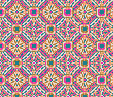 bohemian tile fabric by groundfeather_studio on Spoonflower - custom fabric