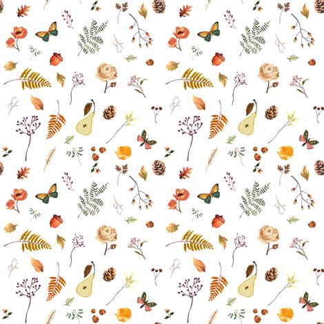 "4"" Woodland Collection - White fabric by shopcabin on Spoonflower - custom fabric"