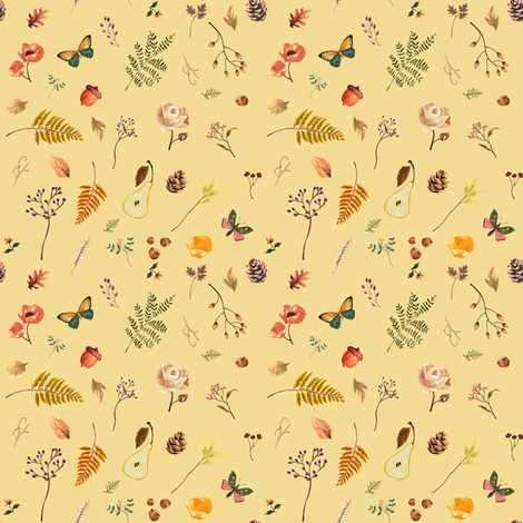 "4"" Woodland Collection - Yellow fabric by shopcabin on Spoonflower - custom fabric"