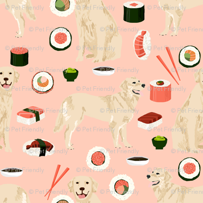Golden Retriever sushi kawaii japanese dog fabric pink
