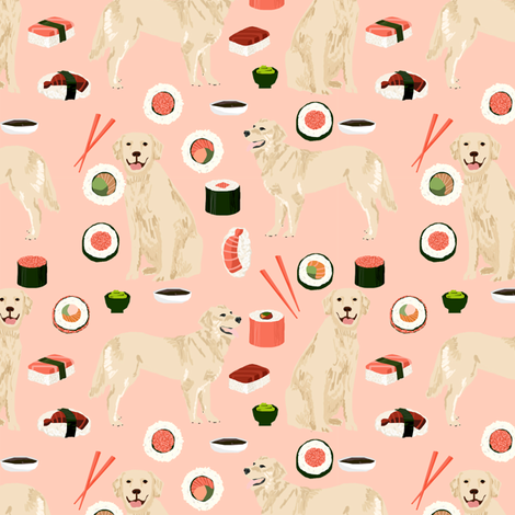 Golden Retriever sushi kawaii japanese dog fabric pink fabric by petfriendly on Spoonflower - custom fabric