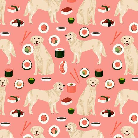 Golden Retriever sushi kawaii japanese dog fabric peach fabric by petfriendly on Spoonflower - custom fabric