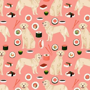 Golden Retriever sushi kawaii japanese dog fabric peach