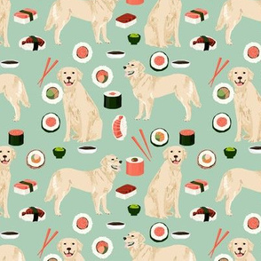 Golden Retriever sushi kawaii japanese dog fabric mint