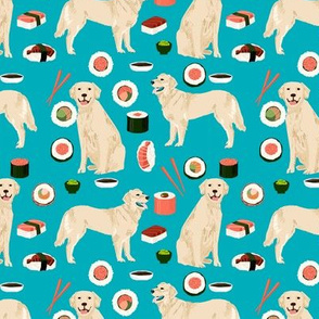 Golden Retriever sushi kawaii japanese dog fabric peacock