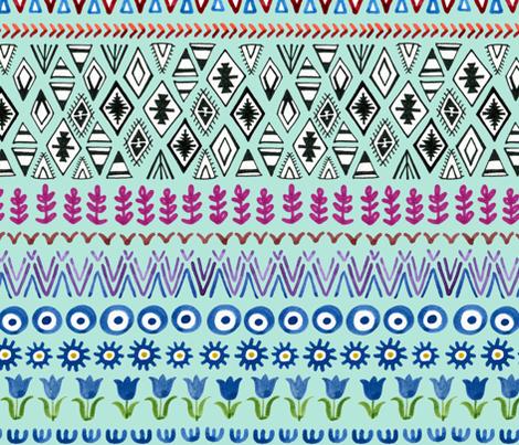 Bohemian Rainbow - on sky blue fabric by cecca on Spoonflower - custom fabric