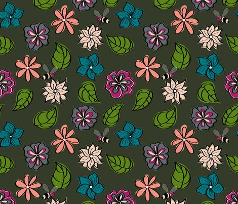 Bohemian_flower_field_cool colours. fabric by house_of_heasman on Spoonflower - custom fabric