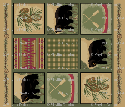 Black Bear Wholecloth Quilt Top