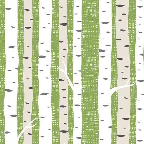 Birch Trees Avocado fabric by wolfandrabbitfabrics on Spoonflower - custom fabric