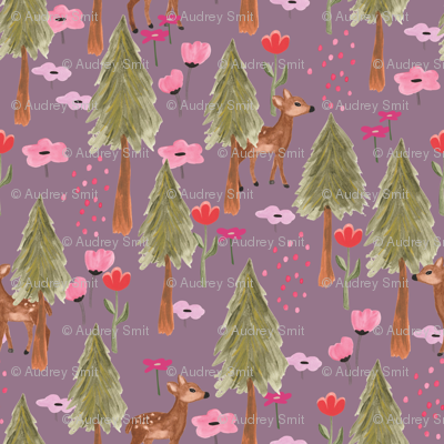 Deers in the mountain in Orchid - Tiny (T)