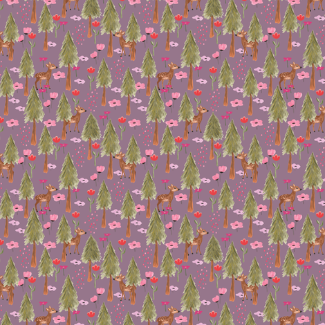 Deers in the mountain in Orchid - Tiny (T) fabric by thislittlestreet on Spoonflower - custom fabric