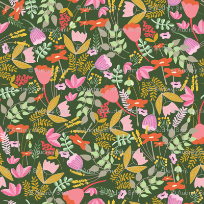 Wild meadow floral in green - tiny (T)