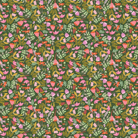 Wild meadow floral in green - tiny (T) fabric by thislittlestreet on Spoonflower - custom fabric