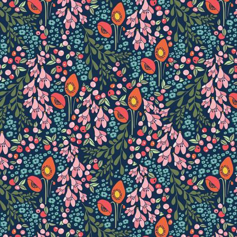 California blooms fall 2017 - tiny (T) fabric by thislittlestreet on Spoonflower - custom fabric