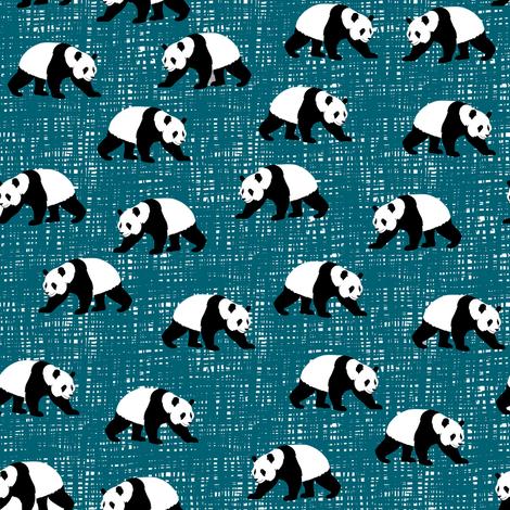 Pandas Walking Teal fabric by wolfandrabbitfabrics on Spoonflower - custom fabric