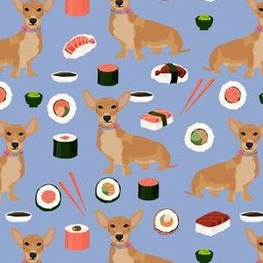 custom dog sushi fabric