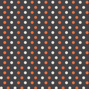 Black White and Orange Polka Dots