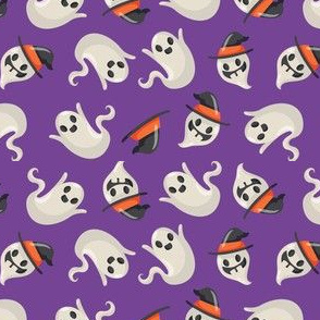 Halloween Ghosts on Purple