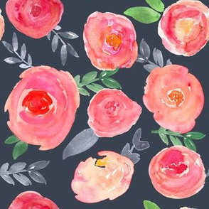bright pink watercolor floral on navy
