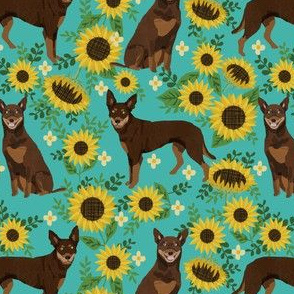 australian kelpie dog fabric red and tan kelpie design - sunflowers- turquoise