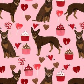 australian kelpie dog fabric red and tan kelpie design - valentines - pink