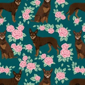 australian kelpie dog fabric red and tan kelpie design - roses - green