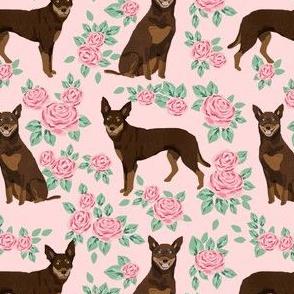 australian kelpie dog fabric red and tan kelpie design - roses - pink