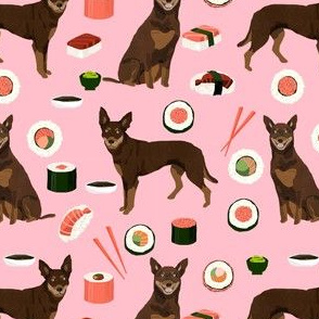 australian kelpie dog fabric red and tan kelpie design - sushi - pink