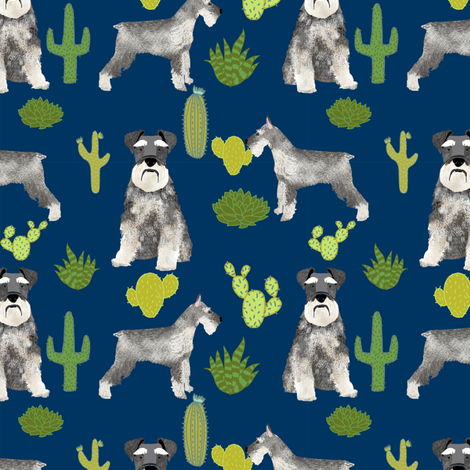 schnauzer dog fabric dogs and cactus design - navy fabric by petfriendly on Spoonflower - custom fabric