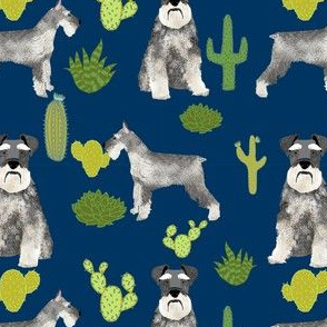 schnauzer dog fabric dogs and cactus design - navy