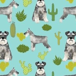 schnauzer dog fabric dogs and cactus design  - light blue