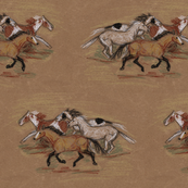 Wild Horse Herd in Crayon on Brown Paper