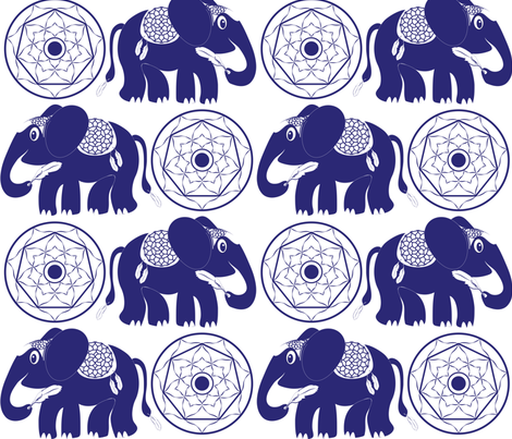 Boho Elephant Tickling Himself with Feather blue fabric by colour_angel_by_kv on Spoonflower - custom fabric