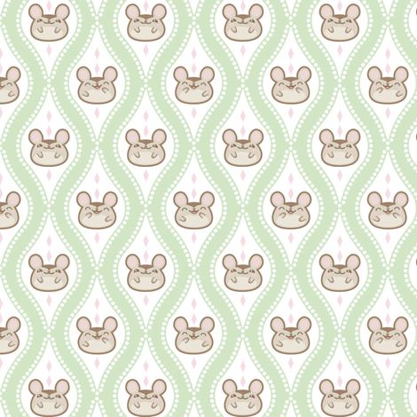 Diamond_mice_small_Green fabric by woodmouse&bobbit on Spoonflower - custom fabric