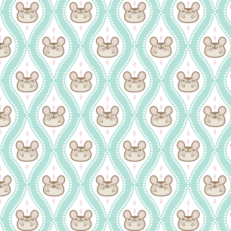 Diamond_mice_small_Turquoise fabric by woodmouse&bobbit on Spoonflower - custom fabric