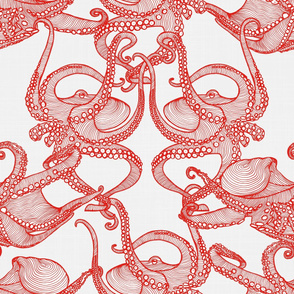 Cephalopod - Octopi Red & White