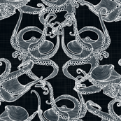 Cephalopod - Octopi White on Black
