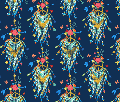 bohemian beaded charms - navy fabric by designed_by_debby on Spoonflower - custom fabric