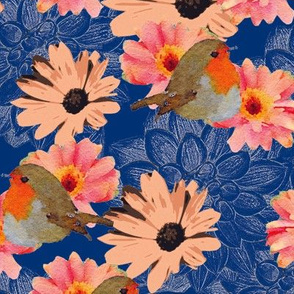 Robins Daisies and Dahlias Navy Blue Upholstery Fabric