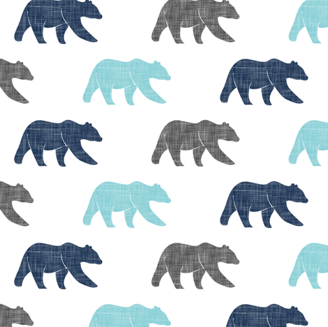 multi bears - happy camper patchwork coordinate || navy and teal fabric by littlearrowdesign on Spoonflower - custom fabric
